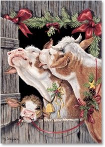 Western Christmas Cards from Leanin' Tree feature cowboys, horses, and other inspiring images of the Old West. Christmas Scenes, Christmas Animals, Christmas Pictures, Christmas Art, Vintage Christmas, Christmas Illustration, Illustration Art, Illustrations, Sweet Cow