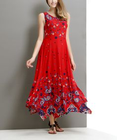 Another great find on #zulily! Red Paisley-Floral Handkerchief Maxi Dress by Reborn Collection #zulilyfinds