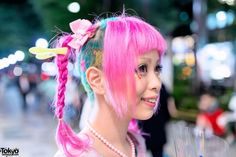 Haruka Kurebayashi is a popular Japanese kawaii model and designer who is often seen around Harajuku. You might also recognize her from her frequent appearances in Kera Magazine. Kurebayashi was also featured in our Kawaii Hair Styling at Viva Cute Candy video – and her super cute pink-twin-braids-with-shaved-stars style is by the same salon. (Tokyo Fashion, 2014)