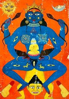 Magical diagrams, plus four yoni symbols, mark this woman/priestess as a ritual consort of the god Shiva (see trident on forehead); and/or his living representative(s). The two lingams at the bottom, plus the two...