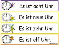 FREE ~ German Printouts for Children ~ Worksheet Time ~ Time in German ~ Available in Spanish, French, German, Italian and English. Visit www.chillola com or follow us: http://pinterest.com/chillolacom/boards/