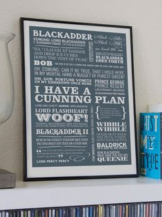 Are you interested in our Blackadder comedy typographic print? With our Christmas Gift for Dad you need look no further. British Humor, British Comedy, Blackadder Quotes, Typographic Poster, Typography, Epson Ink, Tv Quotes, Quote Prints, Funny Prints