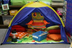 I never thought about me sitting inside the tent for circle time!