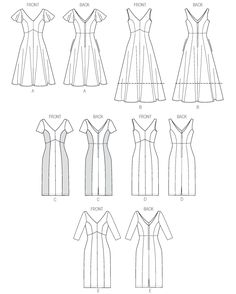 Line Art for Vogue 8997 Misses' Dress, rated Easy, with instruction for custom fitting to bra cup size.