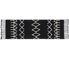 passadeira marroquina geométrica preto (100% algodão) 1249 ONDO