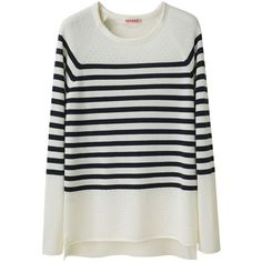 Organic by John Patrick Striped Pullover (170 CAD) ❤ liked on Polyvore featuring tops, sweaters, shirts, stripes, crewneck shirts, long sleeve shirts, merino wool sweater, crewneck sweater and pullover sweater