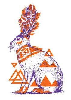 Native Rabbit Triangles Feathers by yeohghstudio on Etsy