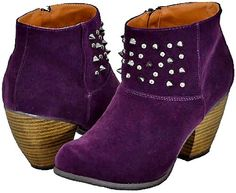 Qupid Priority-46 Purple Velvet Women Cowboy Ankle Boots -        Free Shipping with in the US  Saddle up in this short cowboy inspired western womens boot designed for the fashionable cowgirl in soft faux suede with stud detailing that makes for one