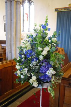 Image detail for -decorated with pretty blue and white welcome gate post arrangements . Church Wedding Flowers, Altar Flowers, Church Wedding Decorations, Large Flower Arrangements, Wedding Arrangements, White And Blue Flowers, Christmas Flowers, Bridesmaid Flowers, Gate Post