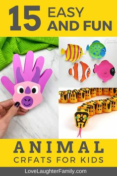 15 easy and fun animal crafts that you can make with your kids or just leave them to it. Try these fun animal crafts today and get creative. Animal Crafts For Kids, Craft Projects For Kids, Crafts For Kids To Make, Arts And Crafts Projects, Toddler Crafts, Preschool Crafts, Activities For Kids, Kids Diy, Easter Crafts