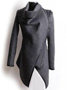 Trench Woolen Coat Irregular Turtleneck Jacket Zipper Slim Coat