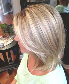 Three shades of blonde. Shoulder length layered bob My