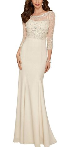 Xicheng Women's Sheath Sheer Crewneck Mother of the Bride Dresses at Amazon Women's Clothing store: