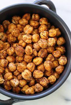 Roasted Chickpea Snack with Chickpeas, Olive Oil Spray, Kosher Salt, Chili Peppers, Ground Cumin, Paprika, Ground Coriander, Curry Powder, Garlic Powder.