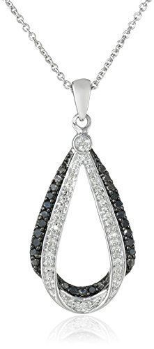 #blackdiamondgem #carbonado Sterling Silver and Black and White Diamond Pendant Necklace (0.25 cttw, ), 18″	by Amazon Collection