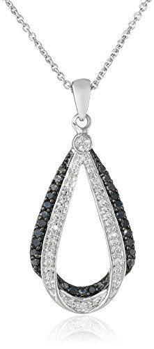 #blackdiamondgem #carbonado Sterling Silver and Black and White Diamond Pendant Necklace (0.25 cttw, ), 18″ by Amazon Collection http://blackdiamondgemstone.com/jewelry/necklaces/pendants/sterling-silver-and-black-and-white-diamond-pendant-necklace-025-cttw-18-com/