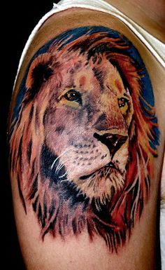 Tattoos an astrological Leo, in a red-tinged full-maned lion on his right calf, the leg his father lost. Description from fullbodytattooing.blogspot.com. I searched for this on bing.com/images