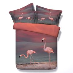 Find More Bedding Sets Information about Splendid 3D Flamingo Bedding sets Tencel Bed sheet Pillowcase Bedspread 3D Digital Printed 4pcs Duvet Cover Sets Queen King size,High Quality duvet cover set queen,China tencel bed sheet Suppliers, Cheap duvet cover set from Fashion Bedding Store on Aliexpress.com
