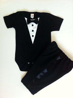 Tuxedo Onesie Baby Bow Tie Wedding