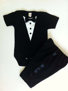 Ethan's tux! 1pc Tuxedo Infant Onesie Formal Black. $27.99, via Etsy.