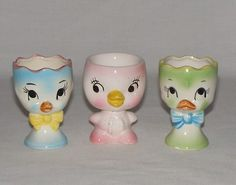 Lot of 3 Vintage Pottery Egg Cups Japan Dancing Chicken Duck Song Birds Eggcup | eBay