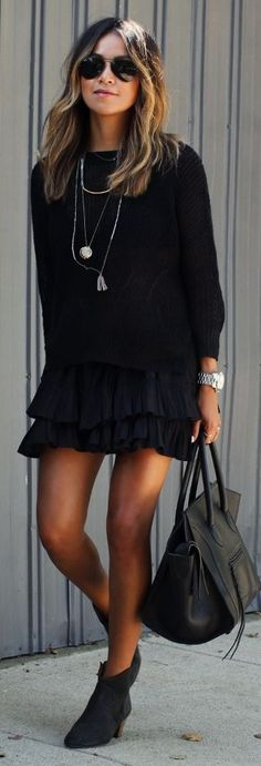 Black Cascading Layer Mini Skirt by Sincerely Jules