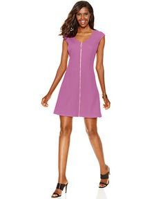 INC International Concepts Zip-Front A-Line Dress, Only at Macy's - Dresses - Women - Macy's
