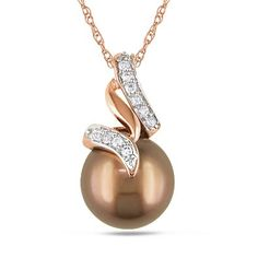 "SALE!! 10K Gold Tahitian Cultured Pearl with Diamond Accent Pendant Necklace (1/10 cttw, G-H Color, I2-I3 Clarity), 17"" REVIEW"