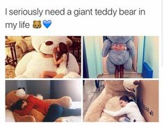 I Seriously Need A Giant Teddy Bear In My Life I Seriously Need A Giant Teddy Be… – Stuffed Animal Quote by Stuffed Animal Fun Huge Teddy Bears, Giant Teddy Bear, Big Bear, Teddy Bear Quotes, Teddy Bear Gifts, Bear Tumblr, Teddy Girl, Patch Kids, Animal Quotes