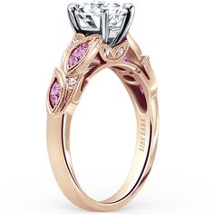 "Kirk Kara 18K Yellow Gold ""Dahlia"" Marquise Shaped Pink Sapphire Diamond Engagement Ring"