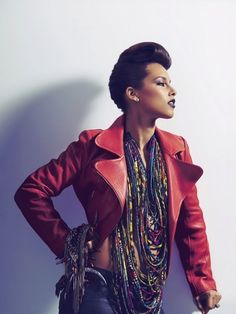 alicia keys- red leather