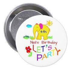 Rainbow Party Cartoon Elephant Name & Age Birthday Button