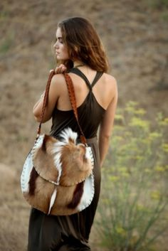 The Molori Bag, hand-stitched leather, springbok hide from Africa (Emily Rosendahl leather goods, Santa Barbara, Calif.