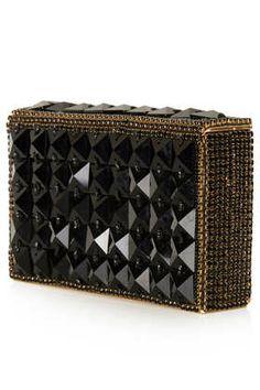 diamante embellished metallic clutch - topshop
