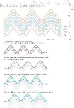 Very pretty ripple pattern from Knitree. This is a free diagram pattern, in Korean. ♥