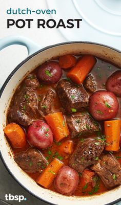 Dutch-Oven Pot Roast Most pot roasts spend hours in the oven, but this comfort classic stays on the stovetop and gets meltingly tender in a fraction of the time. Roast In Dutch Oven, Best Dutch Oven, Dutch Oven Cooking, Dutch Ovens, Dutch Oven Meals, Dutch Food, Italian Cooking, Vegetarian Cooking, Slow Cooking