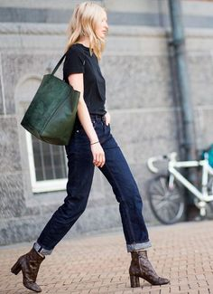Black tee, straight leg jeans & snake print booties