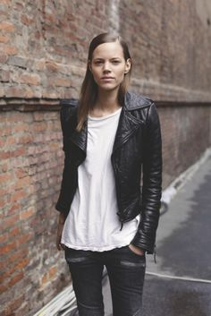 leather, white tee & skinnies. Freja casually killing it #offduty in NYC. #FrejaBehaErichsen