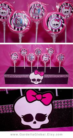 Monster High Party, Monster High Birthday Party, Monster High Birthday Party Ideas, Monster High Invitation, Monster High invite, Monster High Birthday, Monster High Theme, Monster High DIY, Monster High Ideas, Monster High Party Ideas, Birthday Invitation, Birthday Invite, Birthday Banner, Centerpiece, Decor, Decoration, Cupcake Toppers, Cake Pops, Cake topper, Water Bottle Wraps, Labels, Favor Tags, and More! By www.GardellaGlobal.Etsy.com