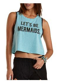 Let's Be Mermaids Graphic Muscle Tee