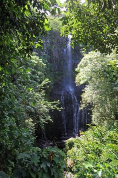 Maui, Hawaii. Wailua Falls - Maui's 'most photographed waterfall' - is a picturesque waterfall, visible and easily accessible from The Hana Highway.