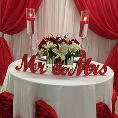 Wedding signs wooden letters for sweetheart table decor. Wedding signs Mrs and Mr on Etsy - Esteria Wells-McGrew added a photo of their purchase - Red And White Wedding Decorations, Red And White Weddings, Wedding Table Decorations, Table Wedding, Decor Wedding, Wedding Signs, Wedding Gazebo, Boquette Wedding, Silver Weddings