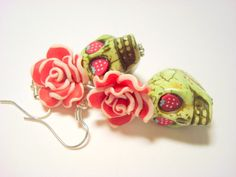 Strawberry Grinch Green Day of the Dead Roses and Sugar Skull Earrings by PennysLane, $8.50