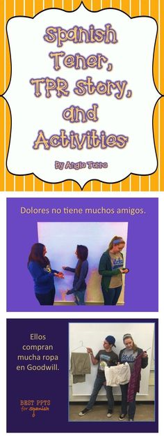 """Spanish Tener, TPR & Activities: Story with visuals using the verb """"tener"""" multiple times. The story is about a girl whose parents have no money and who does not have the nice clothes and possessions of her fellow-students. Those students poke fun at her through social media but then things turn around when...; practice activities & competition; rubric"""