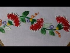 Hand embroidery stitches tutorial. Embroidery design  for cushion covers. - YouTube
