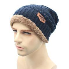 Men's Hats 2018 New Style Winter Warm Knit Caps Jacquard Weave Flannel Knitted Hats Plush Beanies Skullies Bonnet For Man Women 4 Colors Sale Price