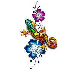 Awesome colorful lizard near flowers for girls.