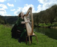 Playing the celtic harp outside