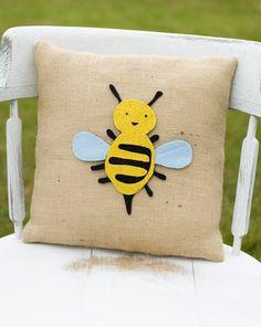Bee Happy Decorative Felt Bee Burlap Pillow by lollipoppillows, $23.99