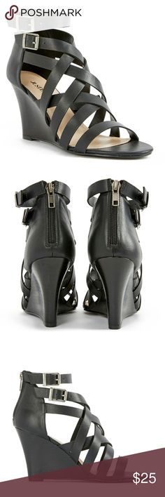 38540b6fa88e Caged Black Wedge Jeels. NWB Brand new with box never worn. Casual strappy  caged